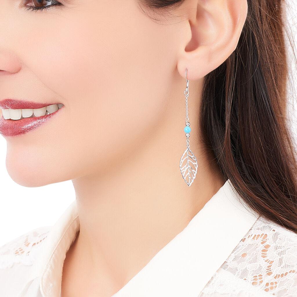 Boucles D'oreilles Pendantes Grethel Argent Blanc Turquoise - Boucles d'Oreilles Plume Femme   Histoire d'Or