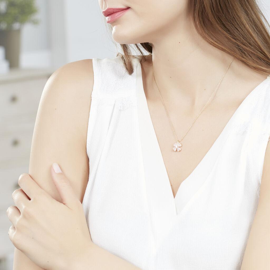 Collier Sendai Plaque Or Jaune Oxyde De Zirconium - Colliers fantaisie Femme   Histoire d'Or