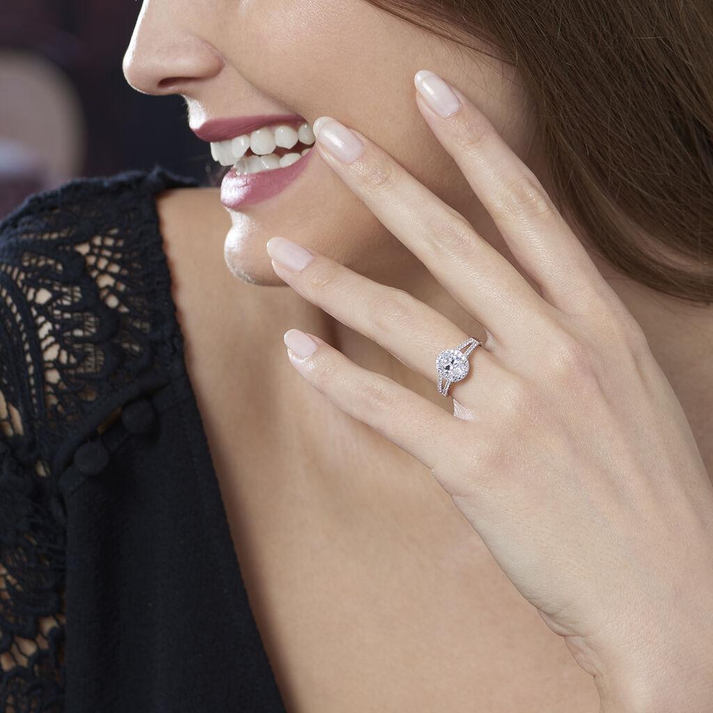 Bague Or Blanc Double Rangs Oxydes - Bagues solitaires Femme | Histoire d'Or