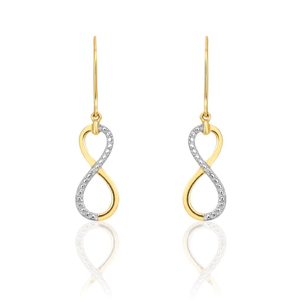 Boucles D'oreilles Pendantes Infino Or Jaune Diamant - Boucles d'Oreilles Infini Femme | Histoire d'Or