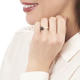 Bague Argent Blanc Céramique Et Perle De Culture - Bagues avec pierre Femme | Histoire d'Or