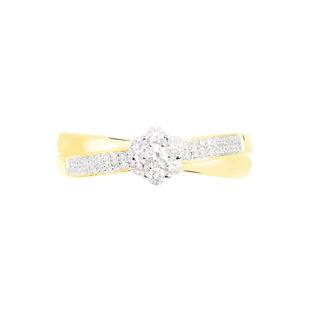 Bague Magnolia Croisee Or Jaune Diamant - Bagues avec pierre Femme | Histoire d'Or