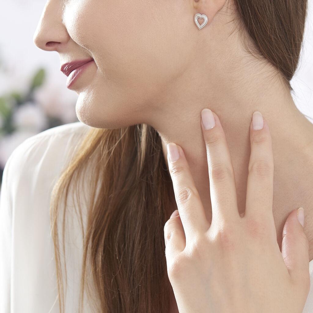 Boucles D'oreilles Puces Claira Argent Blanc - Boucles d'Oreilles Coeur Femme | Histoire d'Or