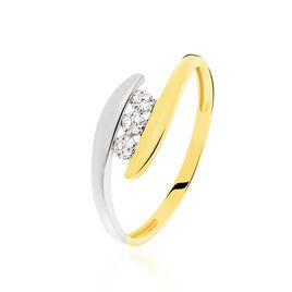 Bague Delphine Or Bicolore Diamant - Bagues avec pierre Femme   Histoire d'Or