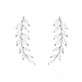 Bijoux D'oreilles Sakira Argent Blanc Oxyde De Zirconium - Boucles d'Oreilles Plume Femme | Histoire d'Or