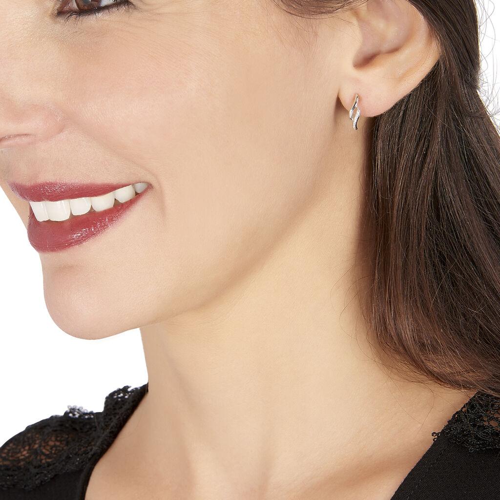 Boucles D'oreilles Puces Callum Or Blanc Diamant - Clous d'oreilles Femme   Histoire d'Or