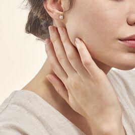 Boucles D'oreilles Puces Edmee Cercle 0 Or Jaune Strass - Clous d'oreilles Femme | Histoire d'Or