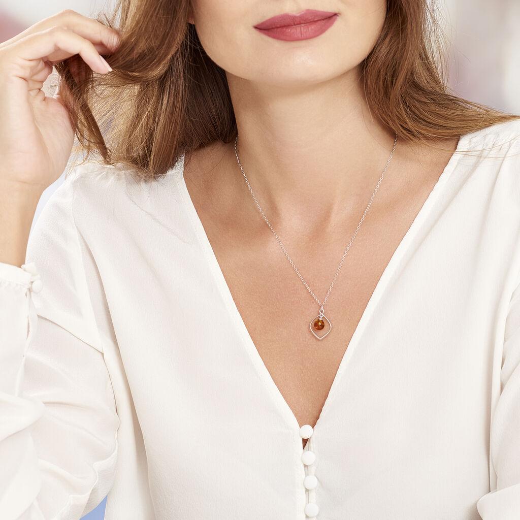 Collier Iva Argent Blanc Ambre - Colliers fantaisie Femme | Histoire d'Or