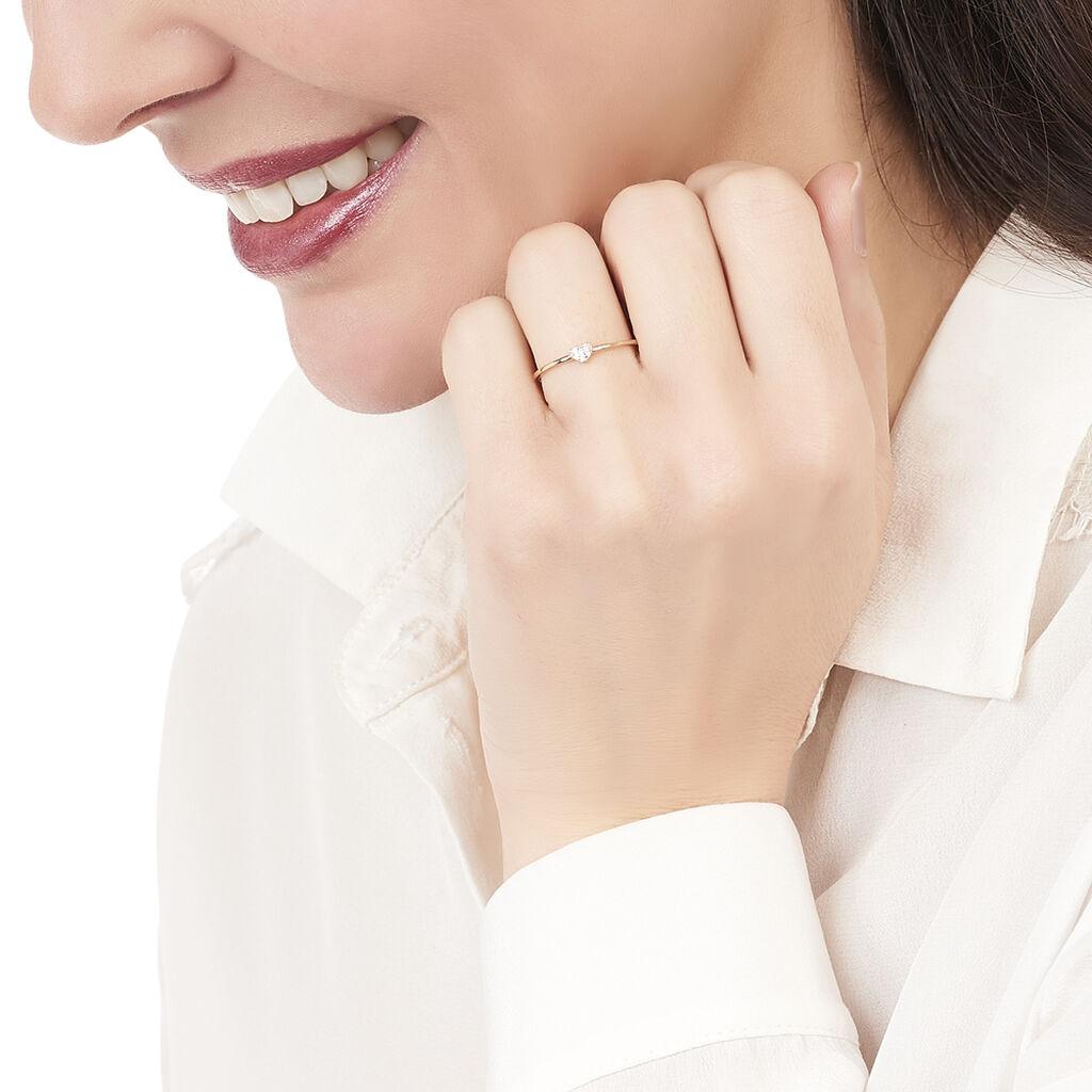 Bague Accumulation Coeur Argent Rose Oxyde De Zirconium - Bagues Coeur Femme | Histoire d'Or