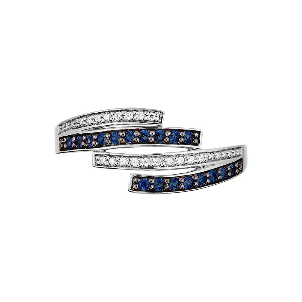 Bague Shina Or Blanc Saphir Et Diamant - Bagues avec pierre Femme | Histoire d'Or