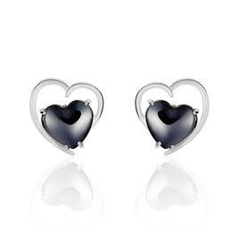 Boucles D'oreilles Pendantes Ramla Argent Blanc Céramique - Boucles d'Oreilles Coeur Femme | Histoire d'Or