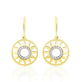 Boucles D'oreilles Pendantes Thallya Or Jaune Oxyde De Zirconium - Boucles d'Oreilles Coeur Femme | Histoire d'Or