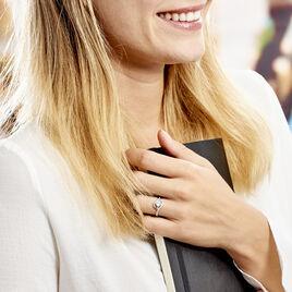 Bague Lines Argent Blanc Oxyde De Zirconium - Bagues solitaires Femme   Histoire d'Or