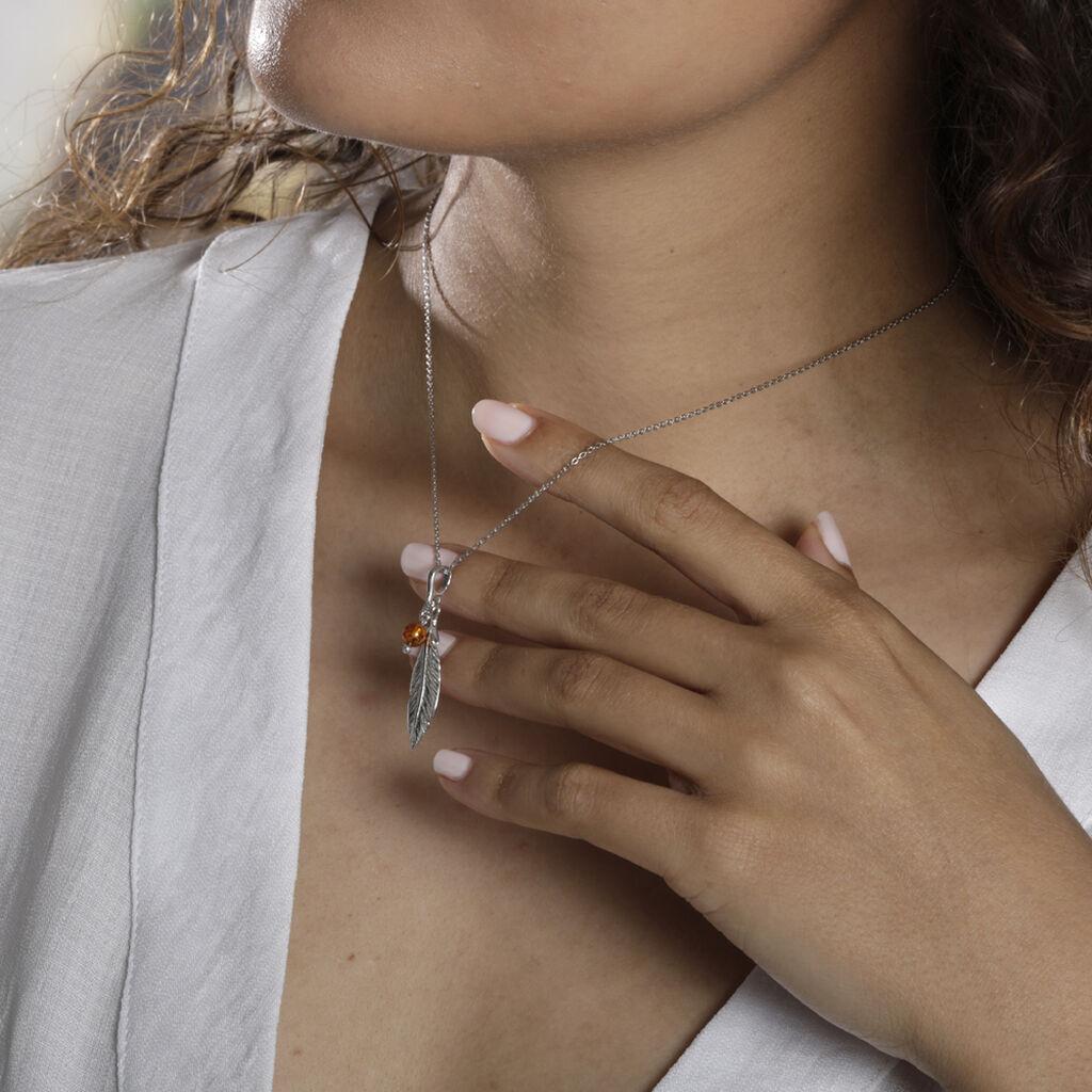 Collier Adriane Argent Blanc Ambre - Colliers Plume Femme   Histoire d'Or
