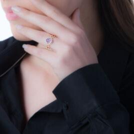 Bague Passion Or Jaune Amethyste Et Oxyde De Zirconium - Bagues solitaires Femme   Histoire d'Or