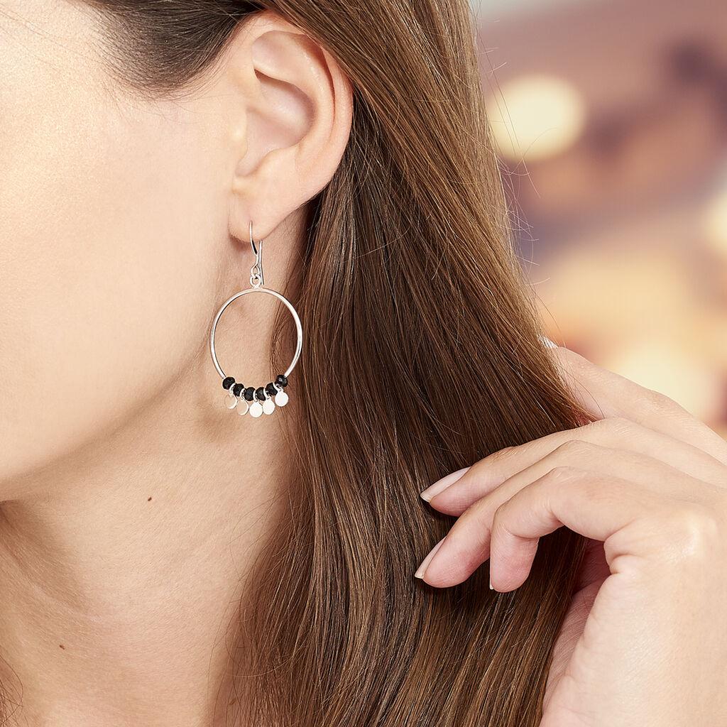 Boucles D'oreilles Pendantes Savahna Argent Blanc Pierre De Synthese - Boucles d'oreilles fantaisie Femme | Histoire d'Or