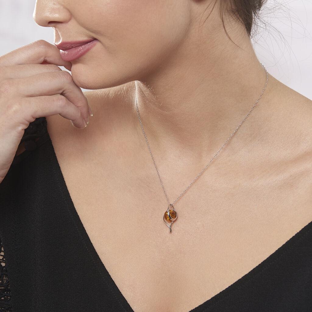 Collier Mukaddes Argent Blanc Ambre - Colliers Coeur Femme   Histoire d'Or