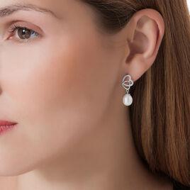 Boucles D'oreilles Argent Coeur Perle - Boucles d'Oreilles Coeur Femme | Histoire d'Or