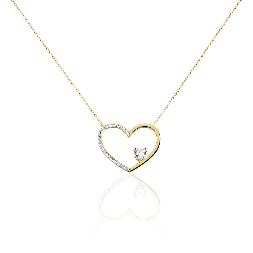 Collier Apollina Plaque Or Jaune Oxyde De Zirconium - Colliers Coeur Femme | Histoire d'Or