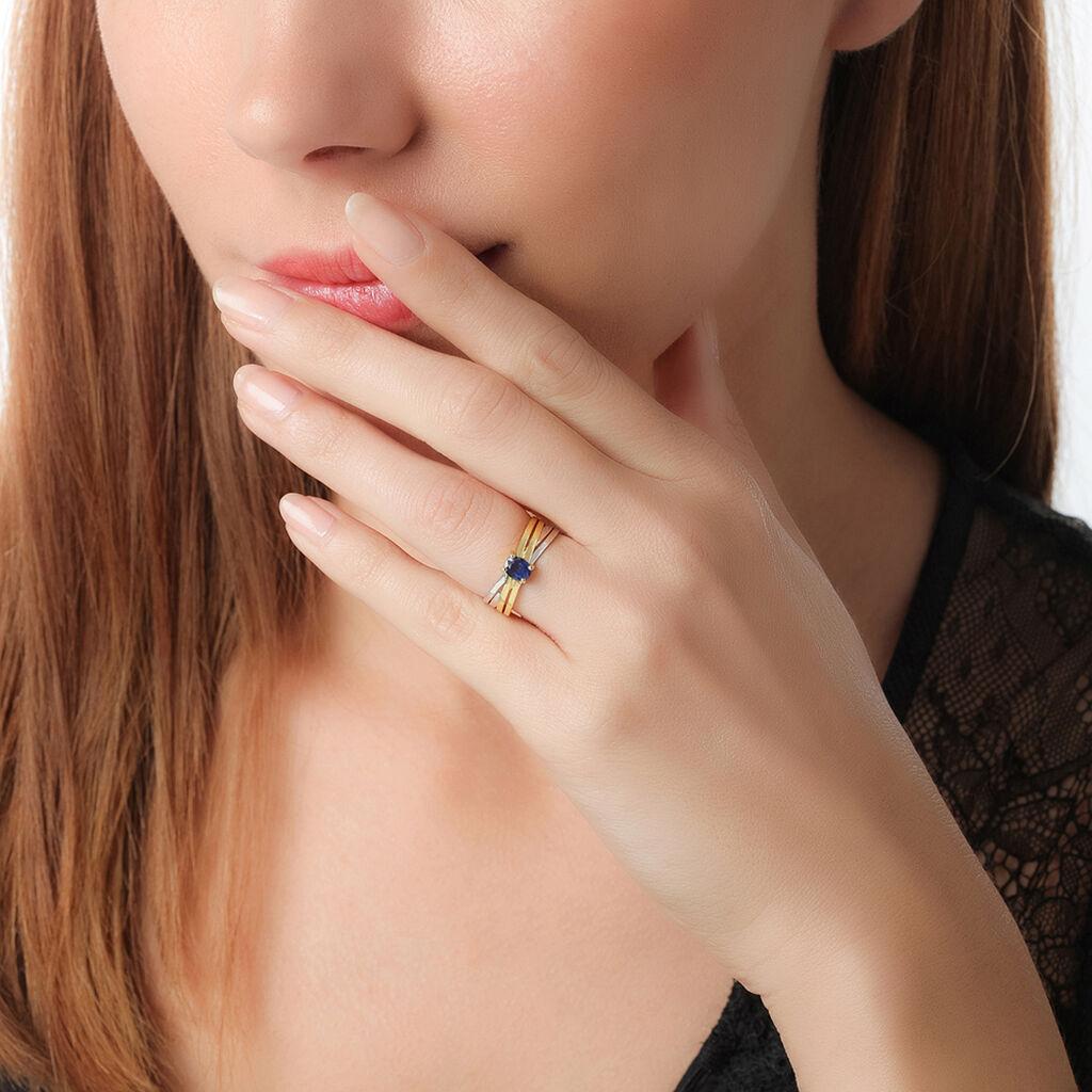 Bague Hannah Or Bicolore Saphir - Bagues avec pierre Femme | Histoire d'Or