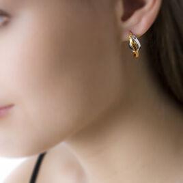 Créoles Aubrey Vrillees Or Bicolore - Boucles d'oreilles créoles Femme   Histoire d'Or