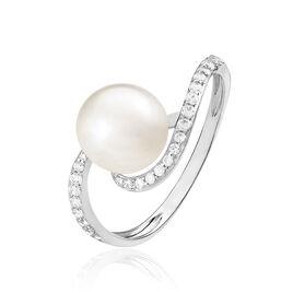 Bague Aricie Or Blanc Oxyde De Zirconium Et Perle De Culture - Bagues avec pierre Femme | Histoire d'Or