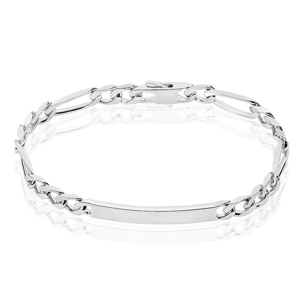 Bracelet Identité Cleona Maille Alternee 1/3 Argent Blanc - Gourmettes Femme   Histoire d'Or
