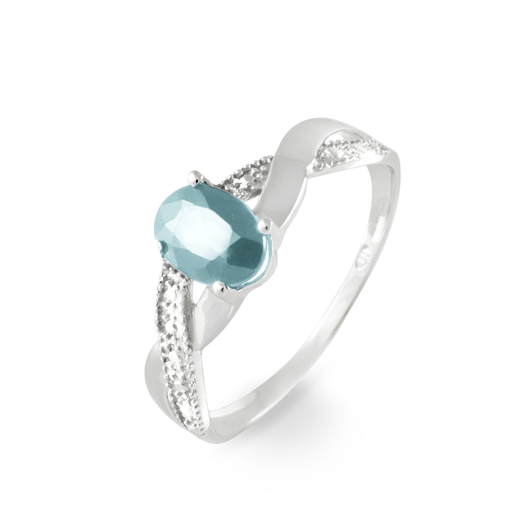 Bague Candice Or Blanc Aigue Marine