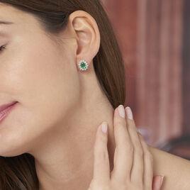 Boucles D'oreilles Puces Vladimir Or Jaune Diamant Et Emeraude - Clous d'oreilles Femme   Histoire d'Or
