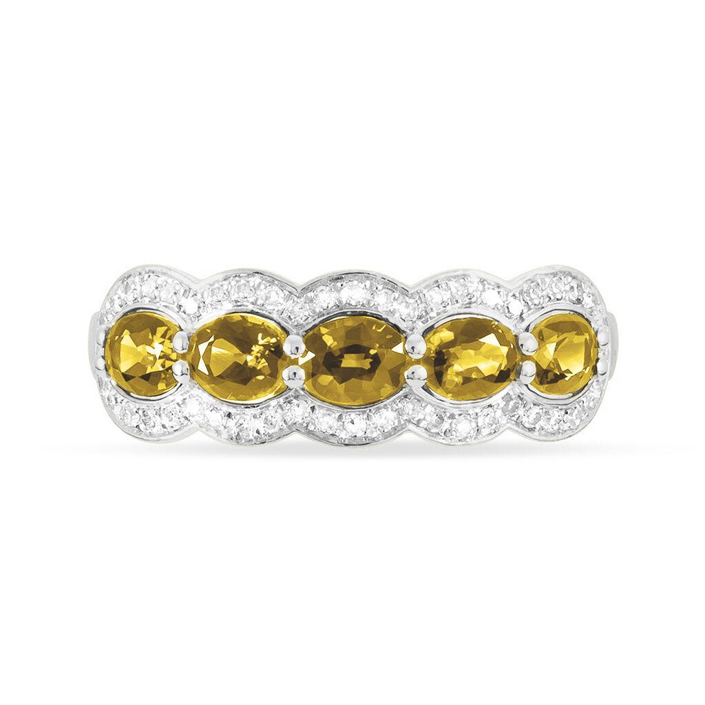 Bague Margaux Or Jaune Citrine Et Diamant - Bagues avec pierre Femme | Histoire d'Or