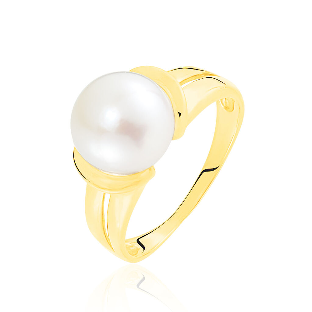 Bague Tounes Or Jaune Perle De Culture - Bagues avec pierre Femme   Histoire d'Or