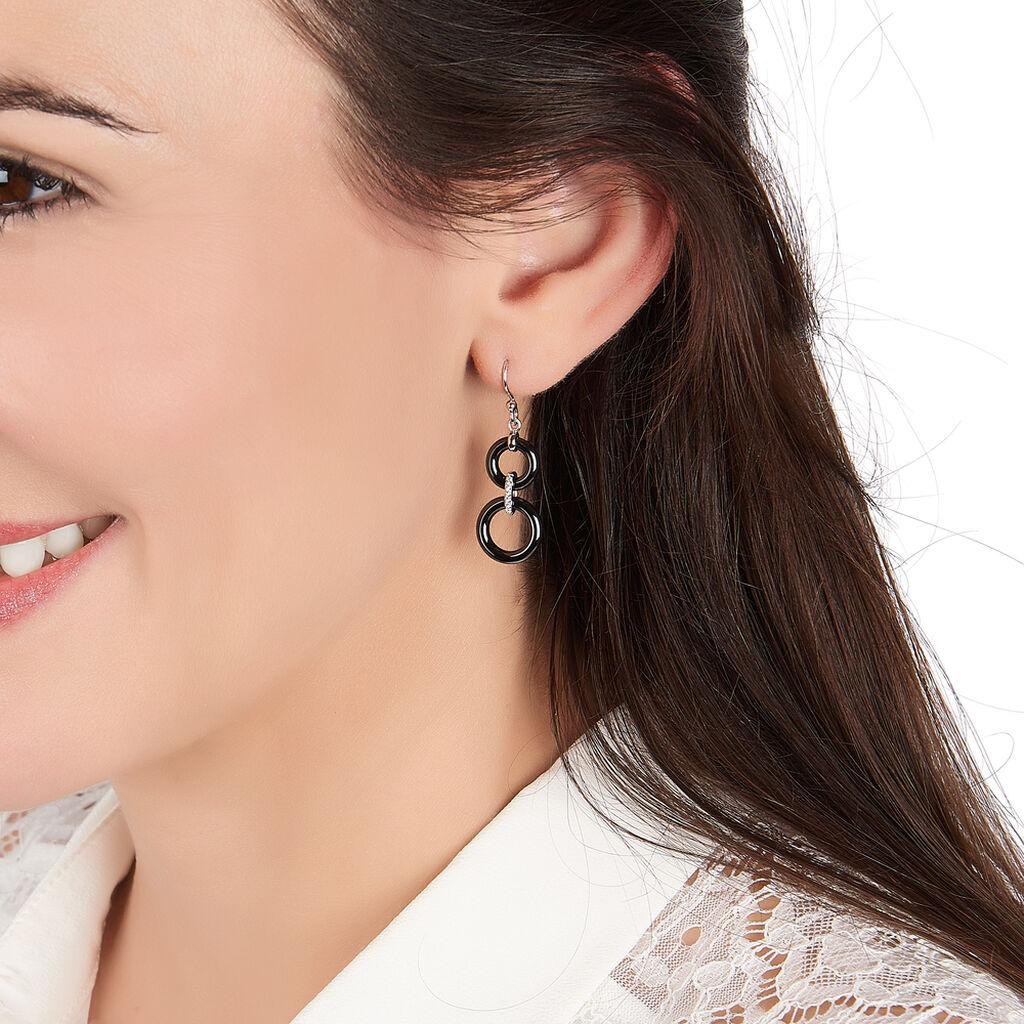 Boucles D'oreilles Pendantes Narcissa Argent Céramique Et Oxyde - Boucles d'oreilles fantaisie Femme   Histoire d'Or