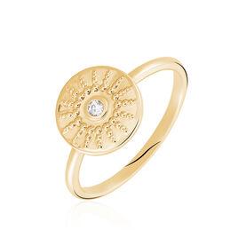 Bague Artea Plaque Or Jaune Oxyde De Zirconium - Bagues avec pierre Femme | Histoire d'Or