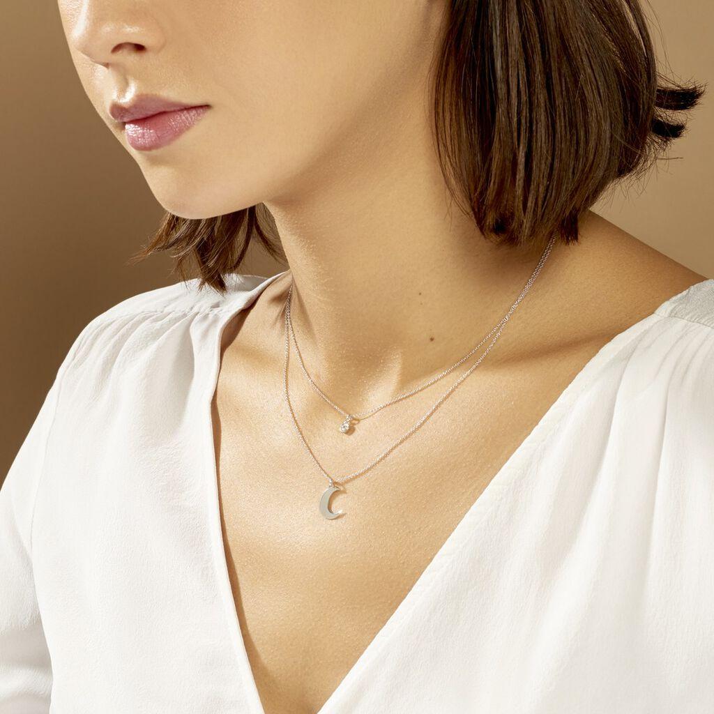 Collier Astre Argent Blanc Oxyde De Zirconium - Colliers Lune Femme | Histoire d'Or