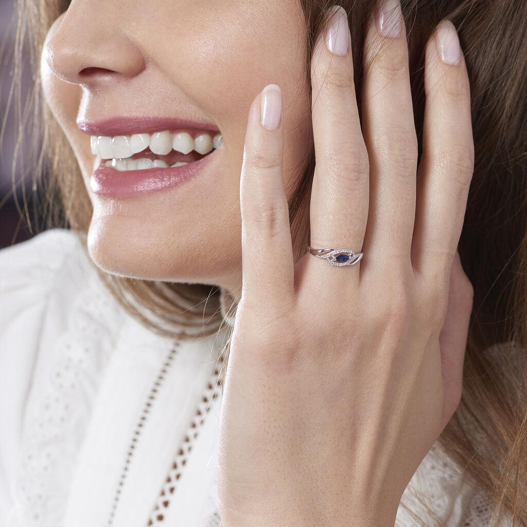 Bague Syriana Or Blanc Saphir Et Diamant - Bagues solitaires Femme   Histoire d'Or