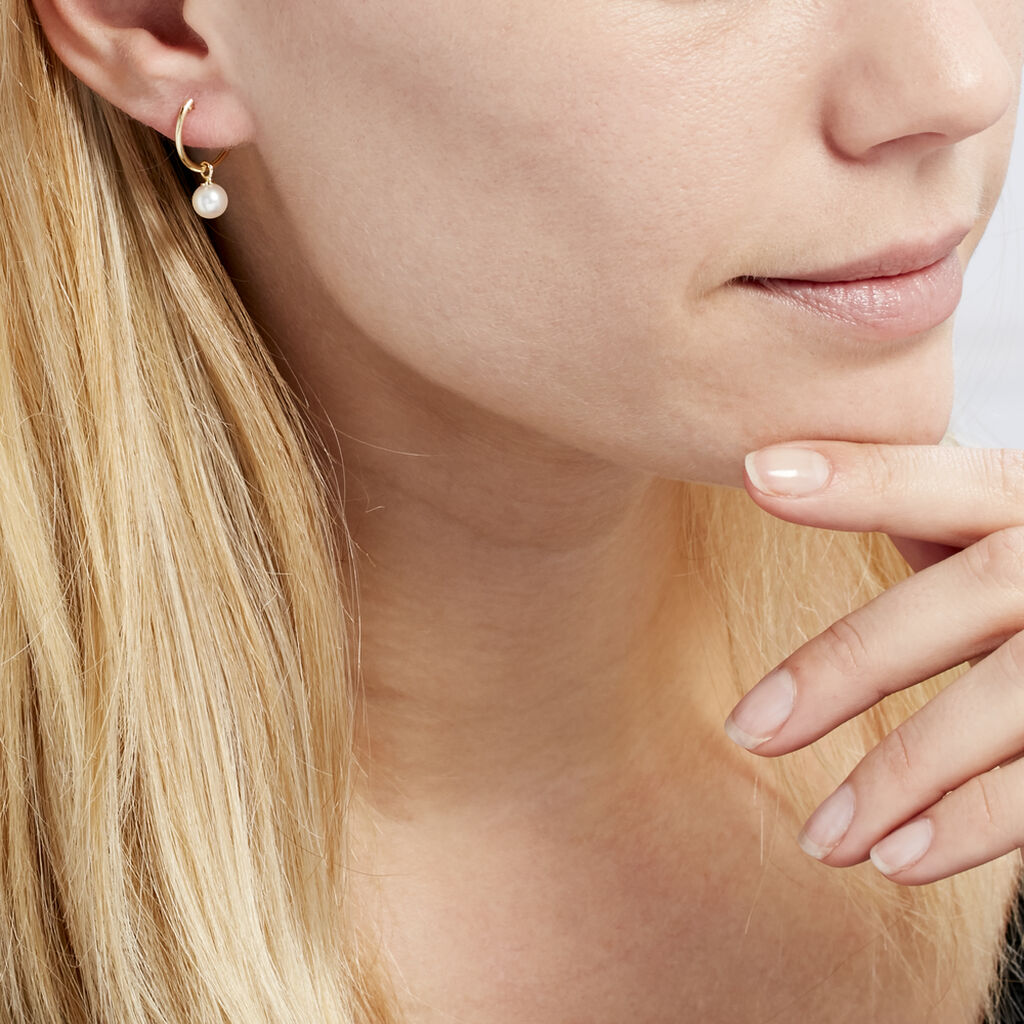 Créoles Inoussia Rondes Or Jaune Perle De Culture - Boucles d'oreilles créoles Femme | Histoire d'Or