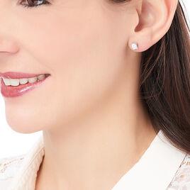 Boucles D'oreilles Puces Mathilda Argent Blanc Oxyde De Zirconium - Boucles d'oreilles fantaisie Femme | Histoire d'Or