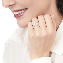 Bague Elsmeralda Or Blanc Oxyde De Zirconium - Bagues avec pierre Femme   Histoire d'Or