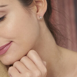 Boucles D'oreilles Puces Philine Fleur Or Jaune Oxyde De Zirconium - Clous d'oreilles Femme | Histoire d'Or