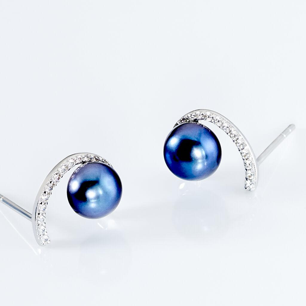 Boucles D'oreilles Puces Anais Or Blanc Perle De Culture Et Oxyde - Clous d'oreilles Femme | Histoire d'Or