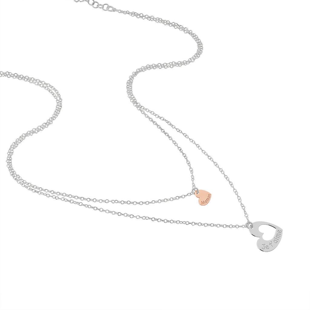 Collier Menia Argent Bicolore - Colliers Coeur Femme | Histoire d'Or