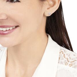 Boucles D'oreilles Puces Elea Serti Griffe Or Blanc Topaze - Clous d'oreilles Femme | Histoire d'Or