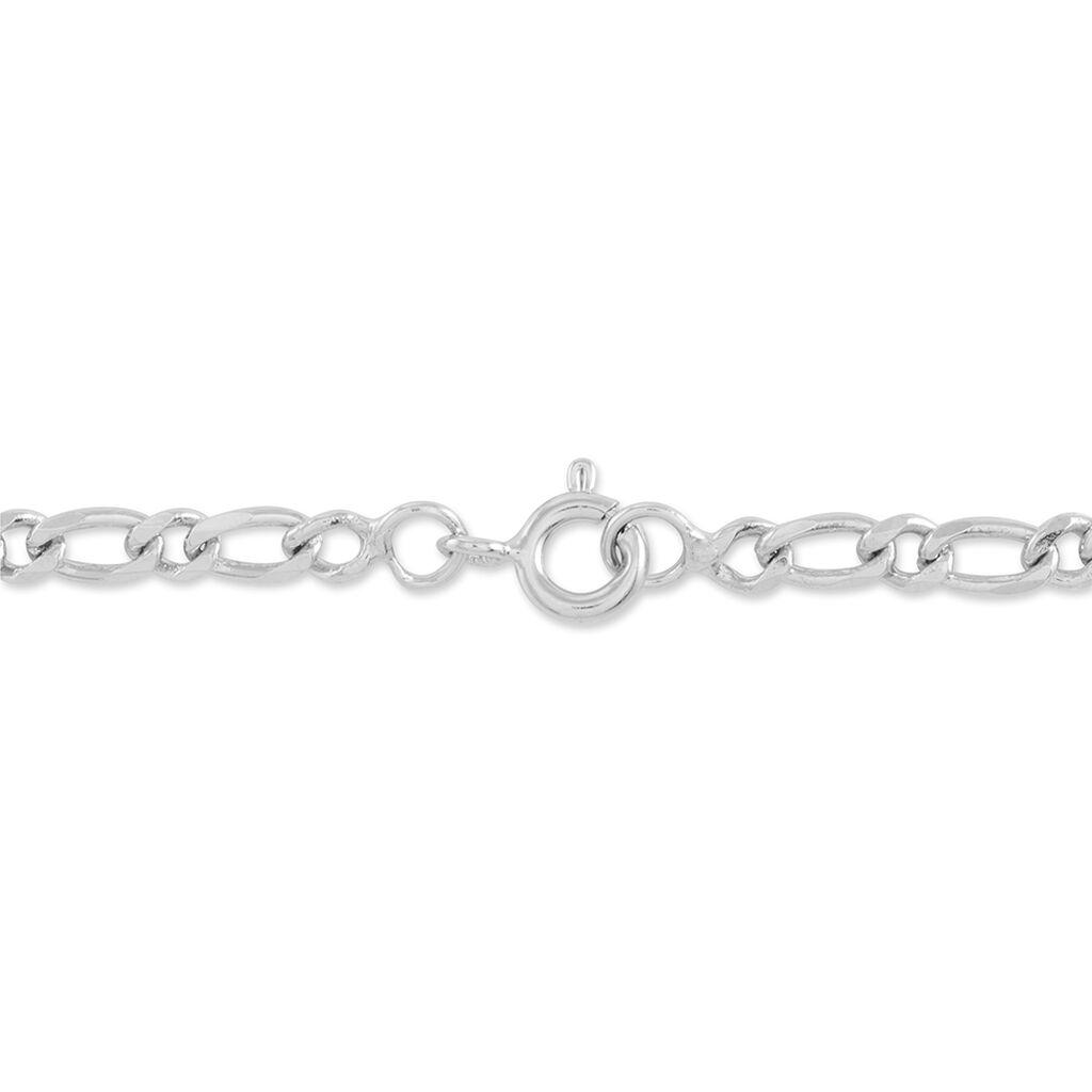 Bracelet Identité Laurelyn Maille Alternee 1/1 Argent Blanc - Bracelets Communion Enfant | Histoire d'Or