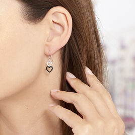 Boucles D'oreilles Pendantes Lio Argent Blanc Oxyde De Zirconium - Boucles d'Oreilles Coeur Femme   Histoire d'Or