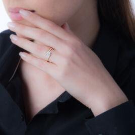 Bague Loriane Or Rose Aigue Marine Et Oxyde De Zirconium - Bagues solitaires Femme   Histoire d'Or