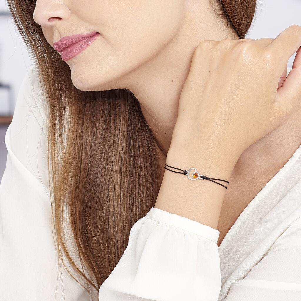 Bracelet Mialy Argent Blanc Ambre - Bracelets Coeur Femme   Histoire d'Or