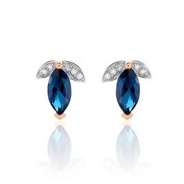 Boucles D'oreilles Pendantes Anais Or Rose Topaze Et Diamant - Boucles d'oreilles pendantes Femme   Histoire d'Or