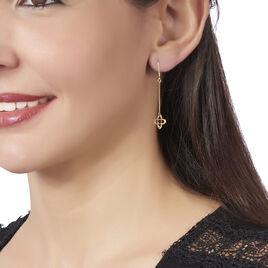 Boucles D'oreilles Pendantes Copalme Fleurs Or Jaune - Boucles d'oreilles pendantes Femme | Histoire d'Or