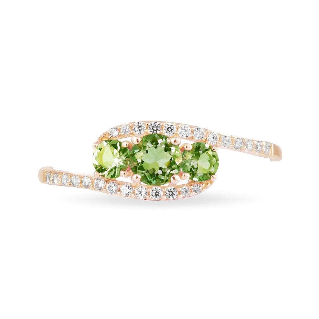 Bague Chloe Or Rose Péridot Et Diamant - Bagues avec pierre Femme   Histoire d'Or