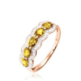 Bague Margaux Or Rose Citrine Et Diamant - Bagues avec pierre Femme   Histoire d'Or